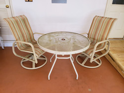 Outdoor Table & 2 Swivel Chairs