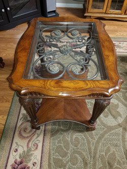 Glass Insert End Table