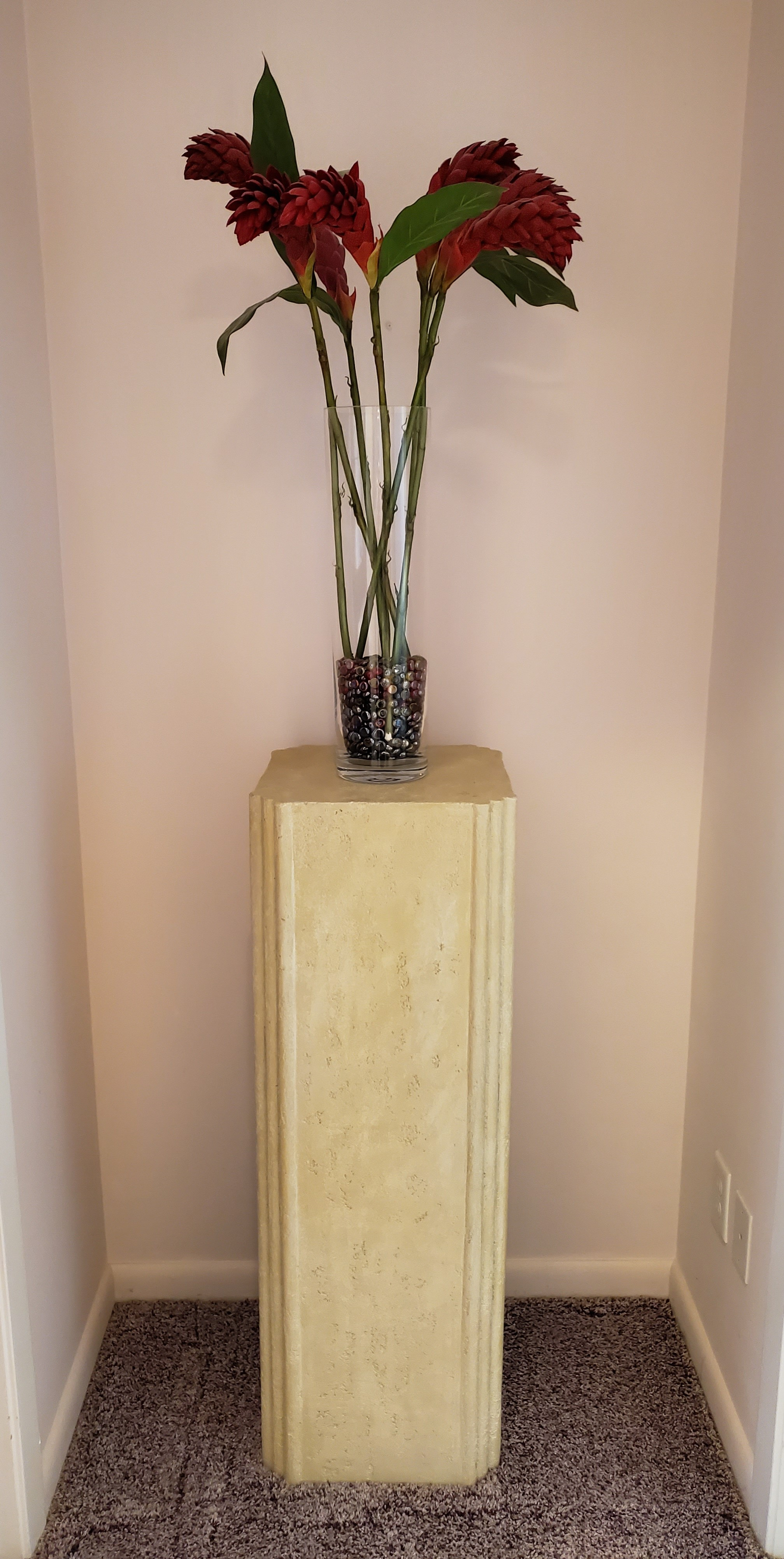 Plant Stand, Vase & Flowers