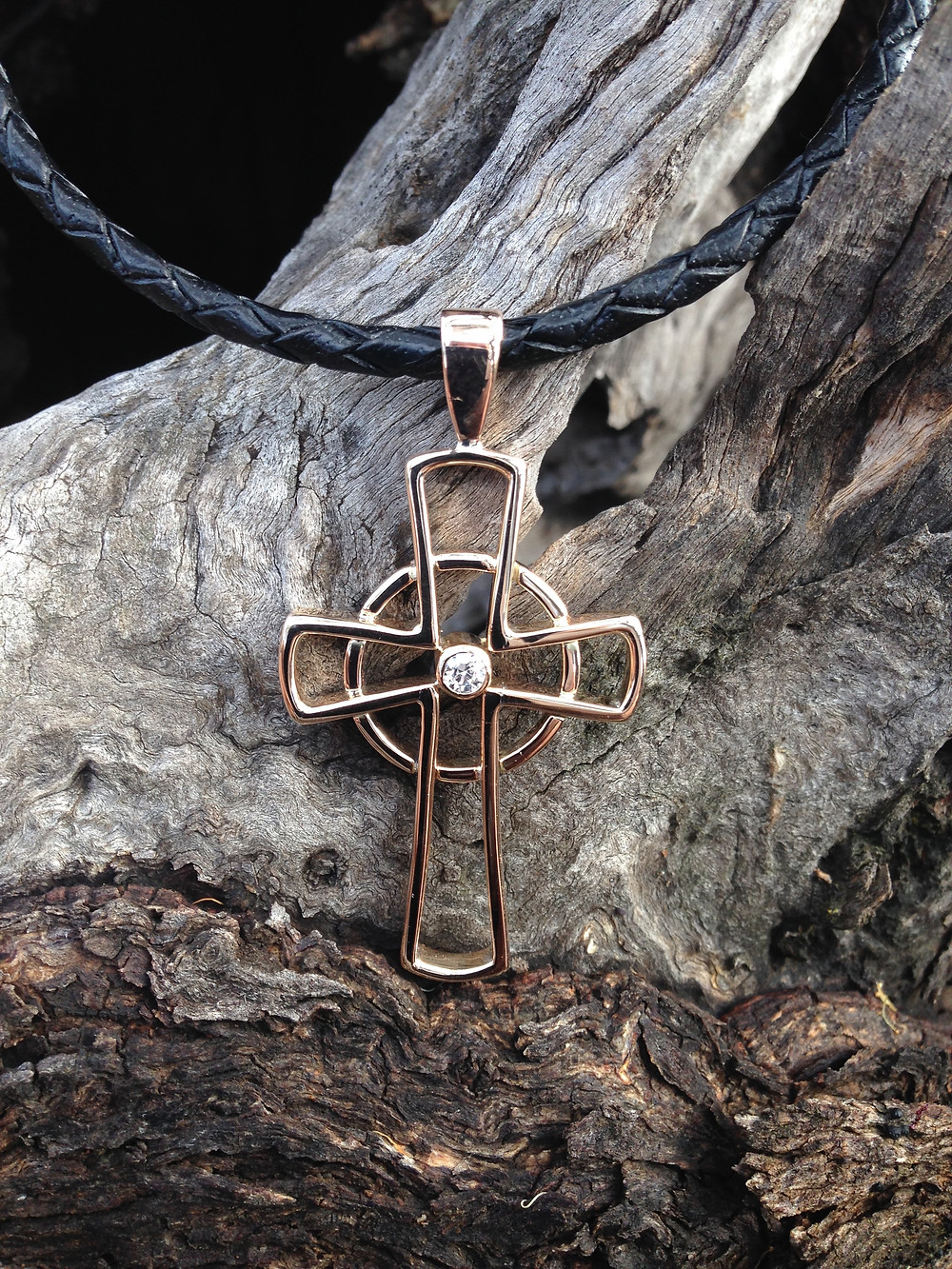 Celtic Style Cross made from scrap 9ct rings and chain
