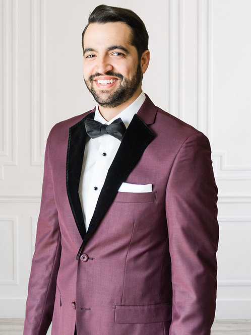 Burgundy Notch Lapel Suit