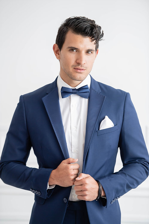 Blue Suit +  Removable Blue Satin Tuxedo Lapel