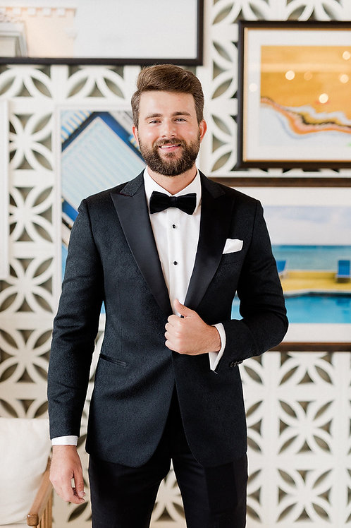 Textured Black Peak Tuxedo Jacket