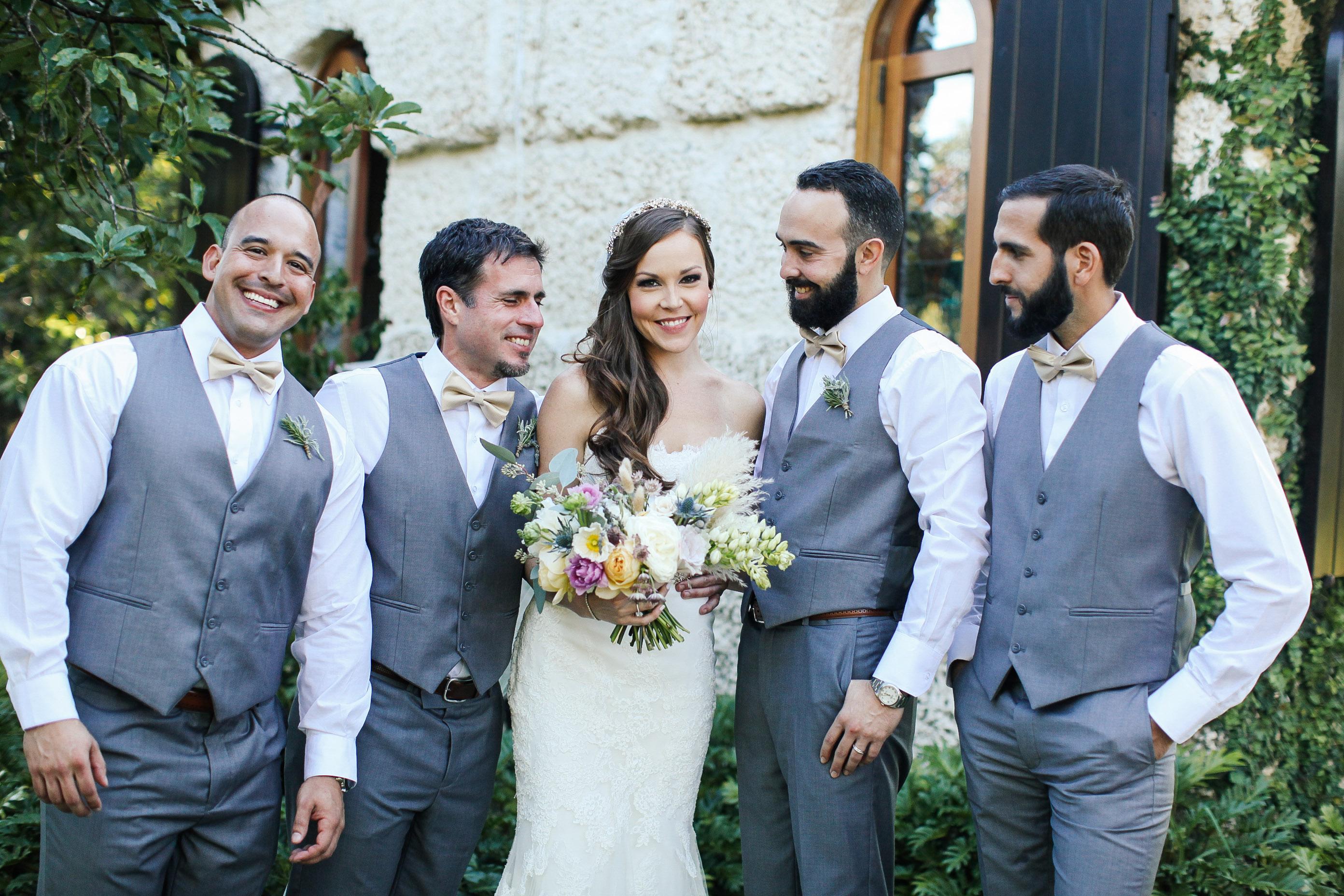 groomsmen and bride
