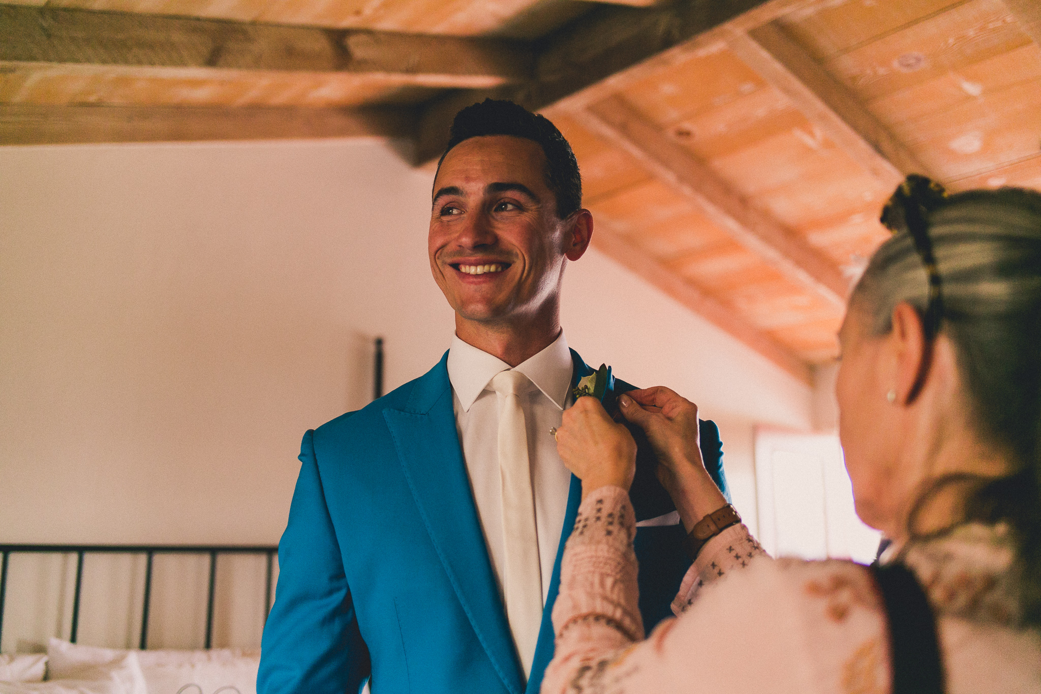 The groom getting fitted