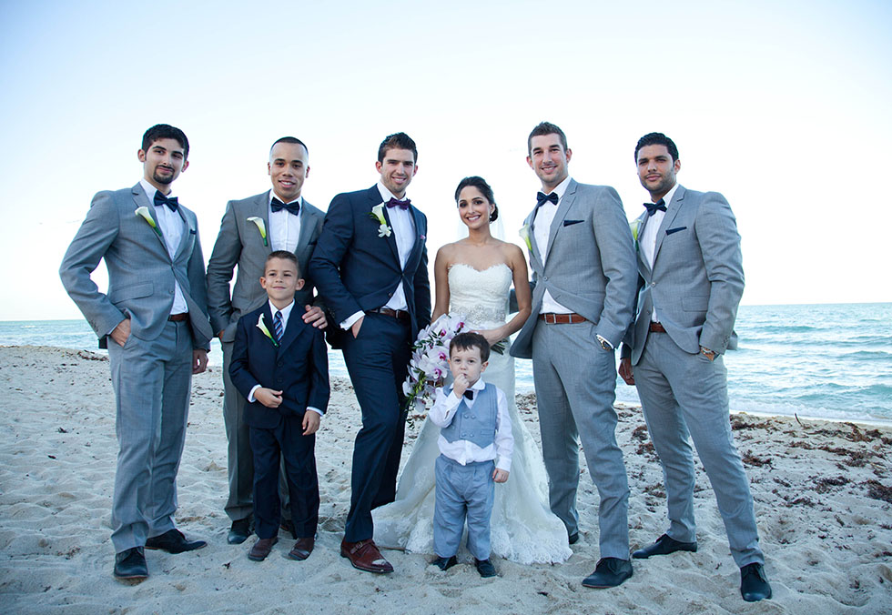 Groomsmen and bride south beach