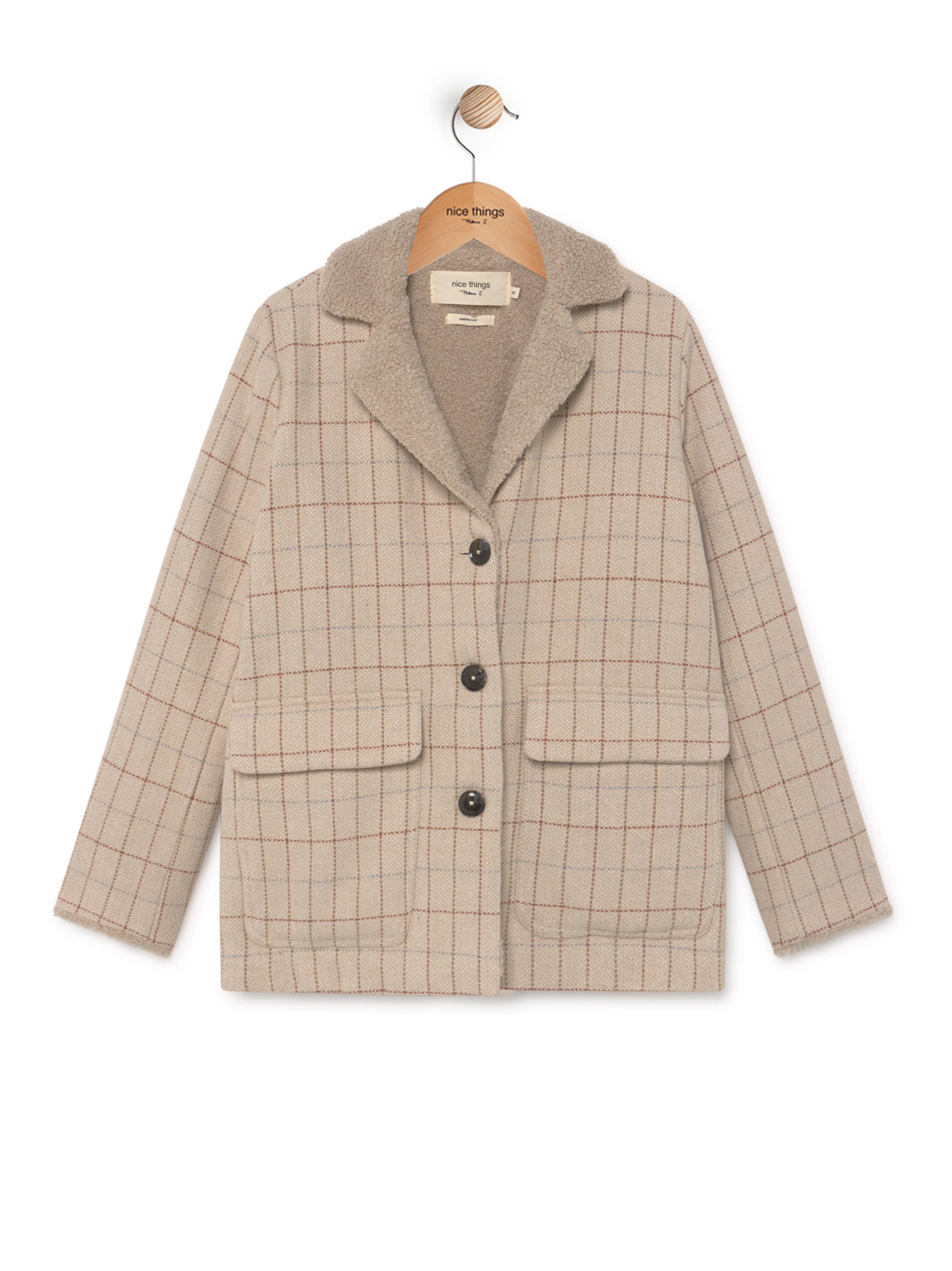 Nice Things - Checked Sherpa Coat