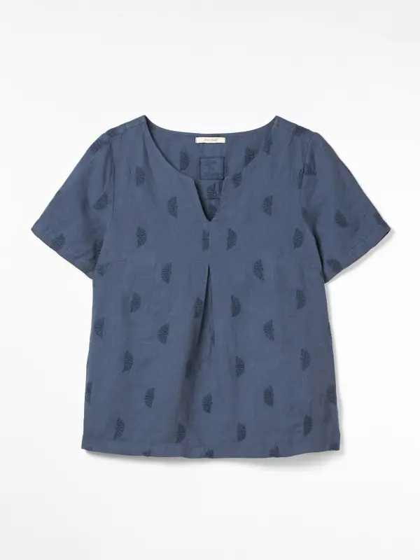Banana Leaf Linen Top (Navy) White Stuff