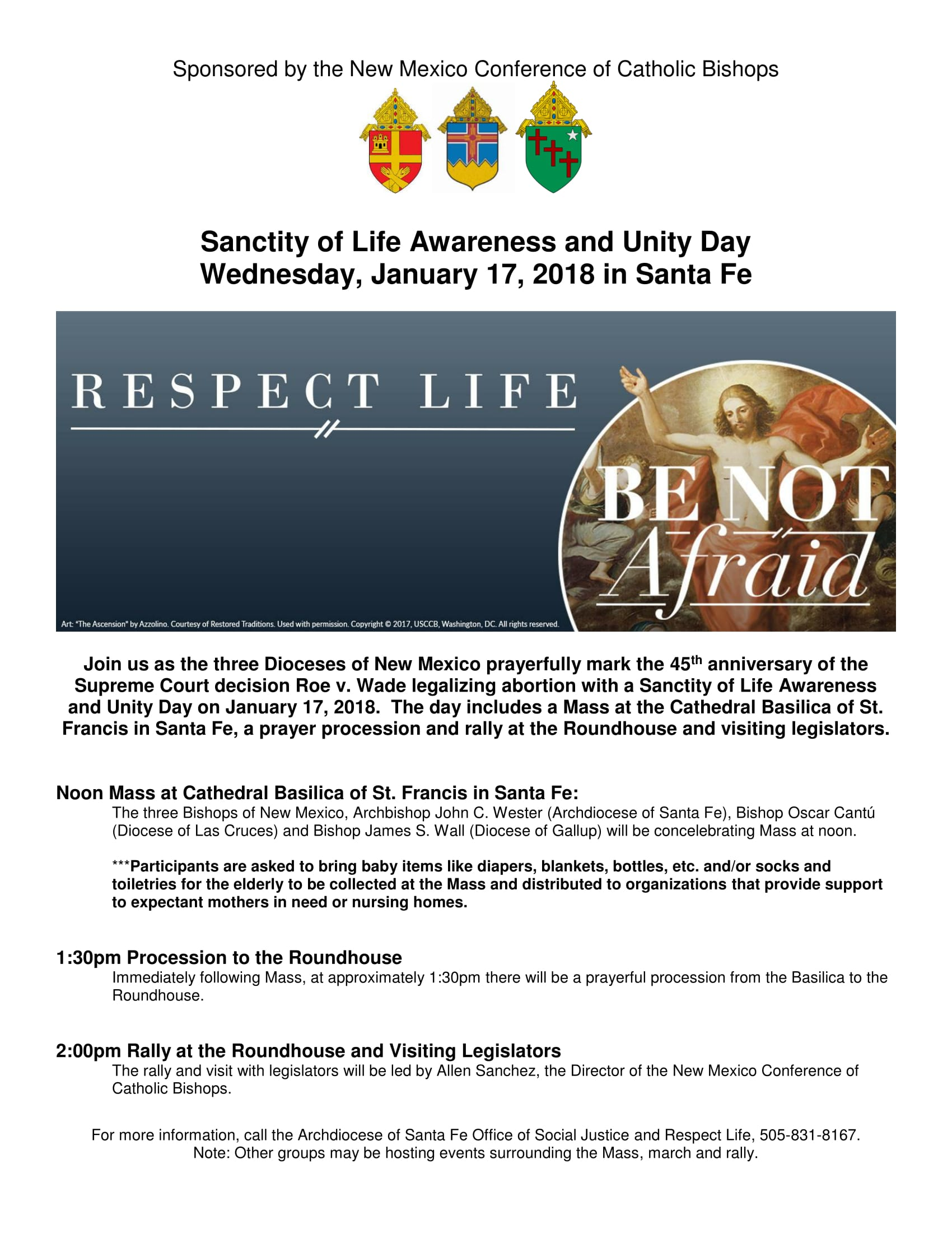 Sanctity of Life Awareness and Unity Day Mass/March/Rally