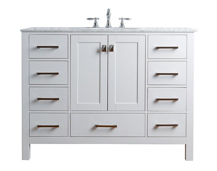 "48"" Malibu Pure White Single Sink Vanity"