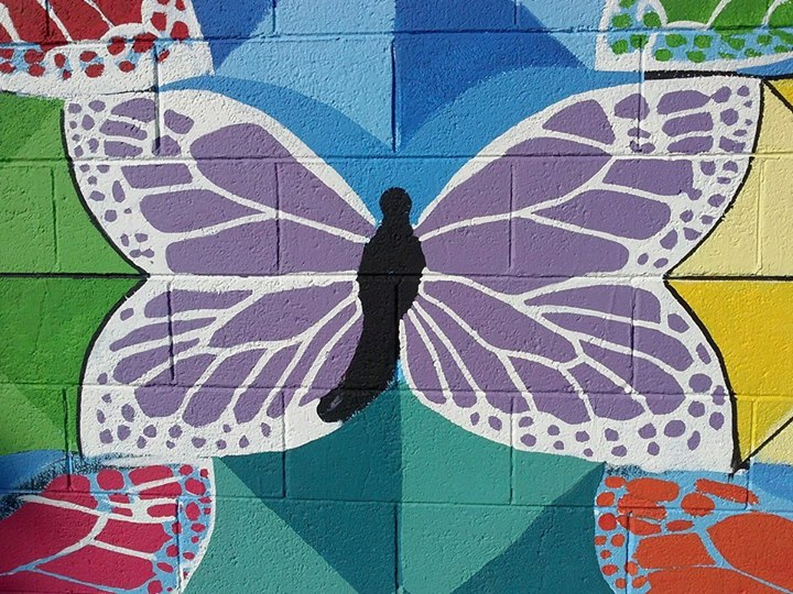 Center Butterfly in Mural