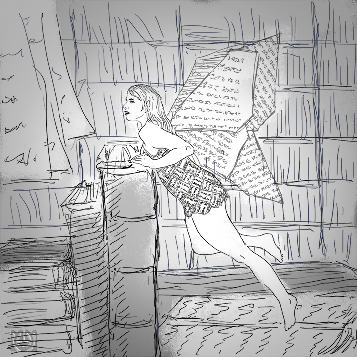 Book fairy reading in library
