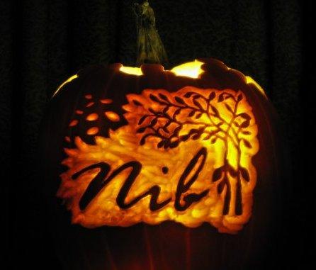 Pumpkin carving of tree logo