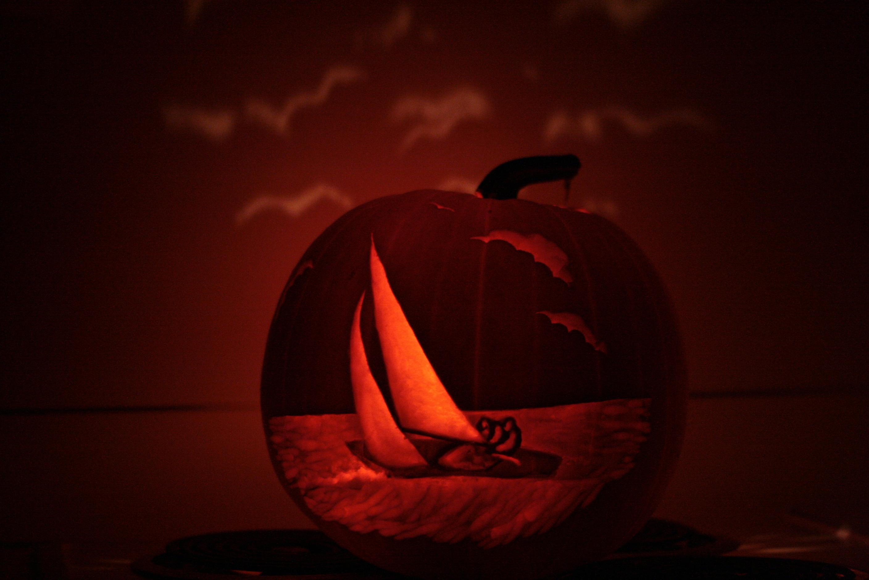 Pumpkin Carving Sailboat & seagulls
