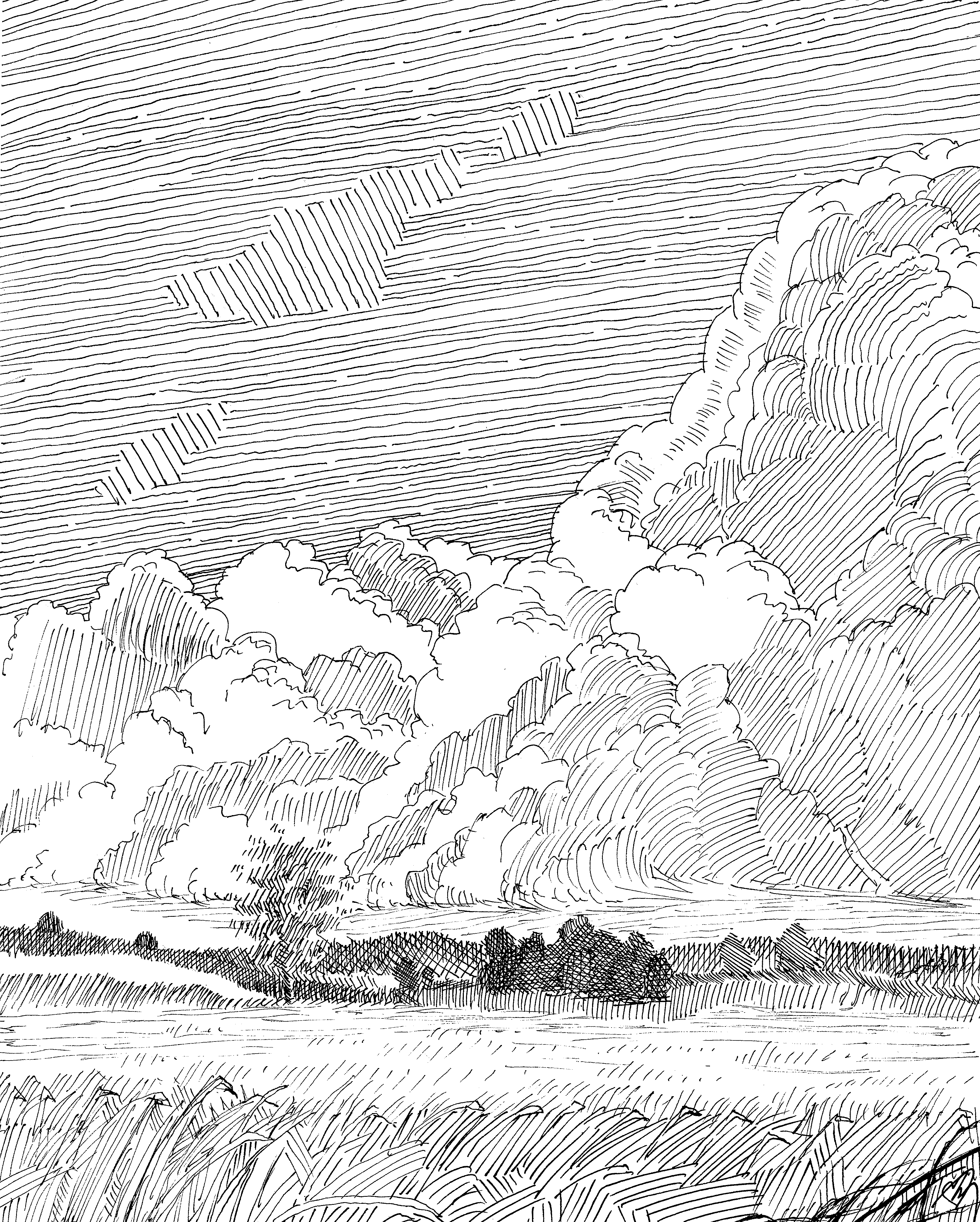 Ink Drawing of Clouds