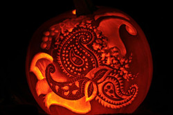Pumpkin carving of Paisley pattern