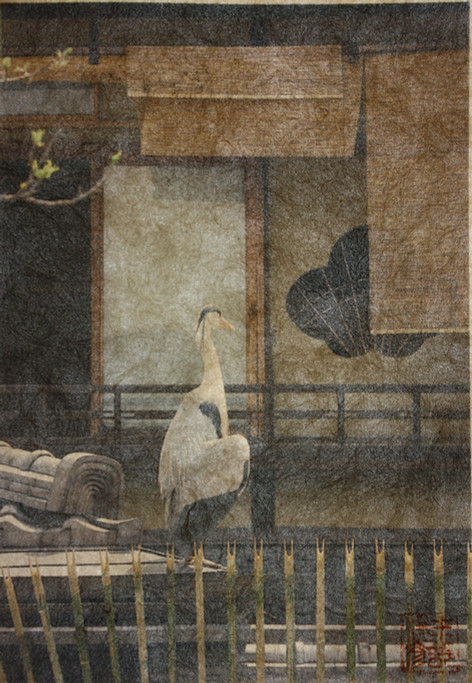 Heron on the roof, Gion