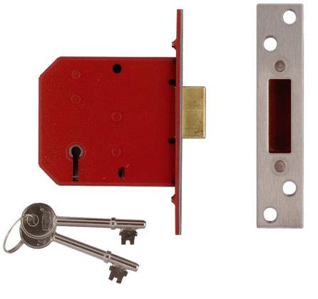 Union 5-Lever Deadlock Satin Chrome 81mm 2100S-BS