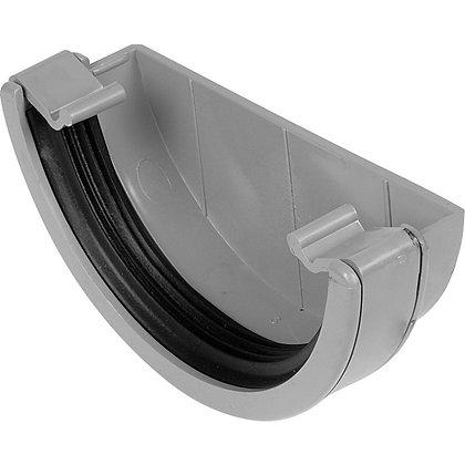 Half Round Rainwater 112mm Gutter External Stop End Grey