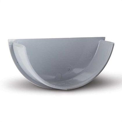 Half Round Rainwater 112mm Gutter Internal Stop End Grey