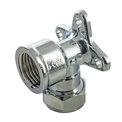"""Compression Fit Chrome Wallplate Elbow 15mm x 1/2"""""""
