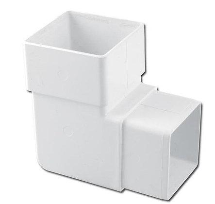 Square 65mm Rainwater Downpipe 90 Degree Bend White