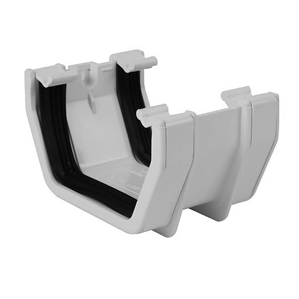 Square Rainwater 112mm Gutter Union Bracket White