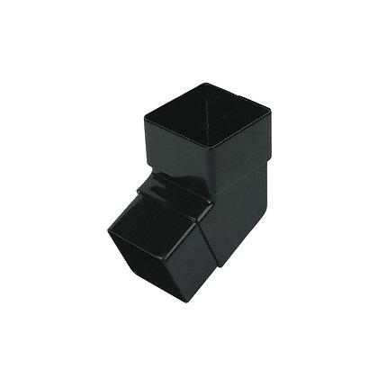 Square 65mm Rainwater Downpipe 112 Degree Bend Black