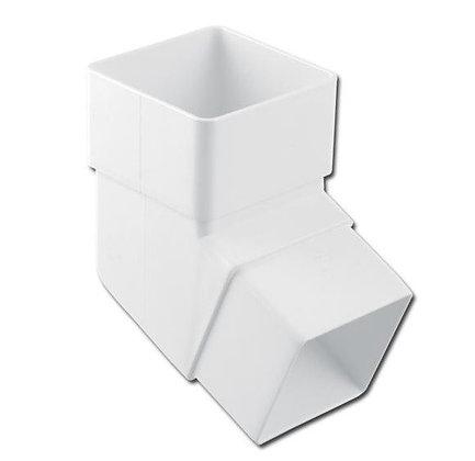 Square 65mm Rainwater Downpipe 112 Degree Bend White