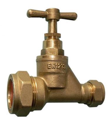 Stopcock MDPE Poly Brass VSP 25mm x 22mm