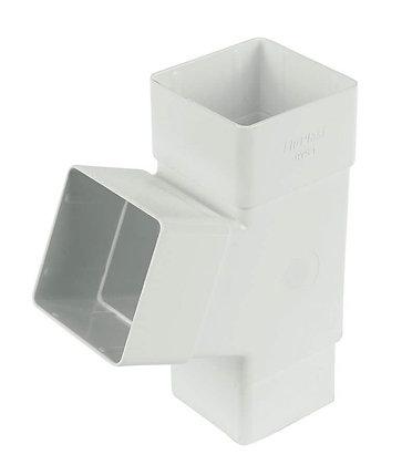 Square 65mm Rainwater Downpipe 112 Degree Branch White