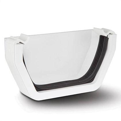 Square Rainwater 112mm Gutter External Stop End White