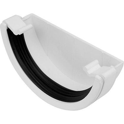Half Round Rainwater 112mm Gutter External Stop End White