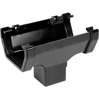 Square Rainwater 112mm Gutter Running Outlet Black