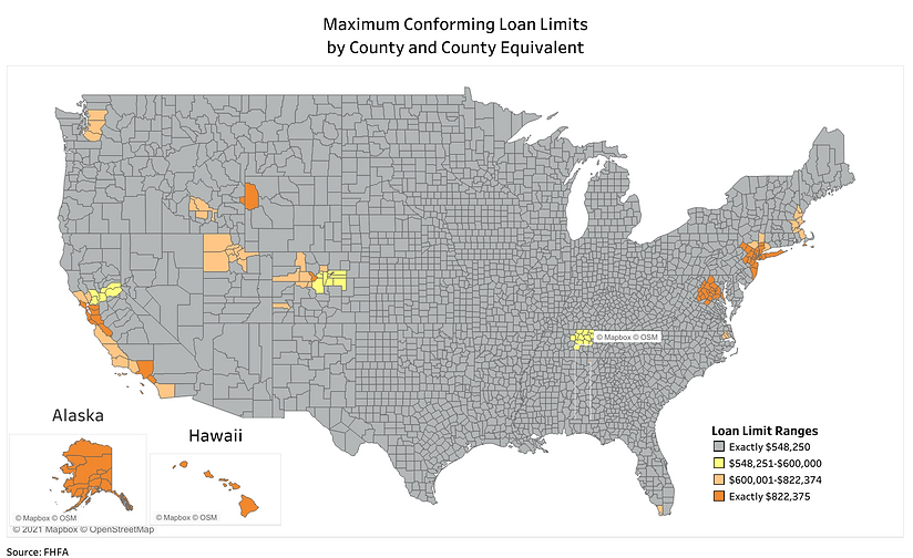 VA Maximum Conforming Loan Limit by County map
