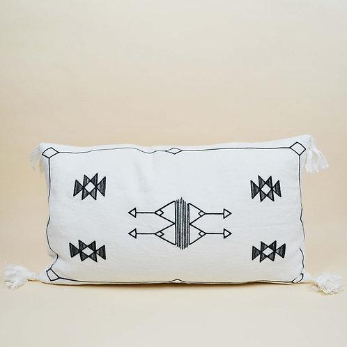 Cactus Embroidered Linen Tassels Lumbar Pillow