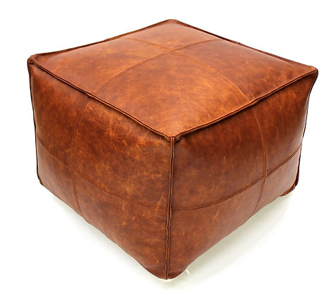 Leather Cigar Pouf