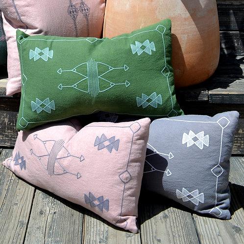 Cactus Embroidered Linen Lumbar Pillow