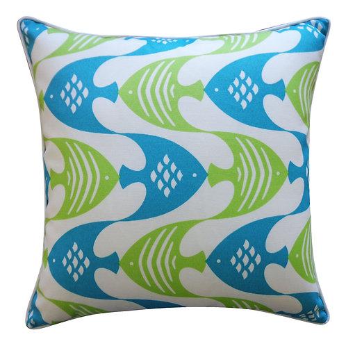 Fish Print Outdoor Throw Pillow