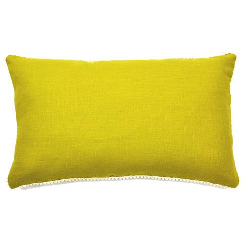 Pompom Trim Linen Lumbar Pillow