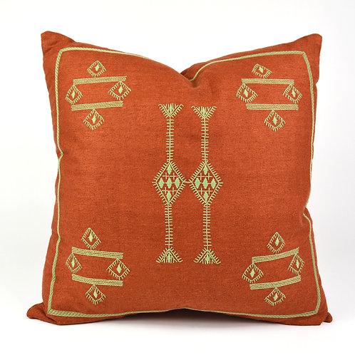 Cactus Embroidered Silk Throw Pillow
