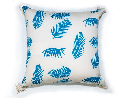 Turquoise Palm Outdoor Pillow