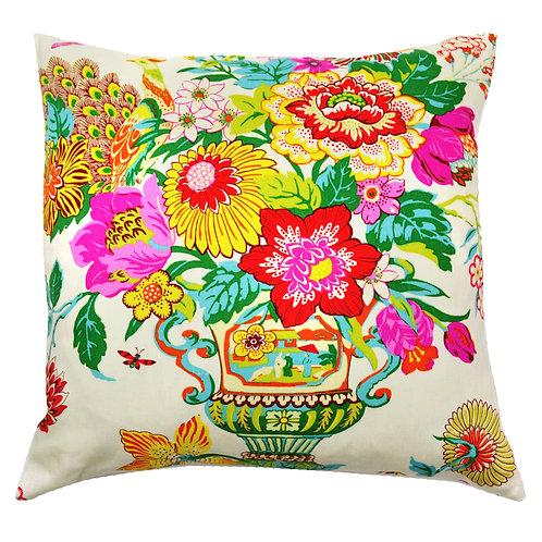 Flower Vase Print Linen Throw Pillow