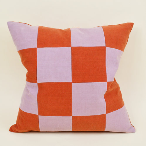 Medium Checkered Linen Throw Pillow