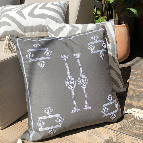 Cactus Embroidered Outdoor Throw Pillow