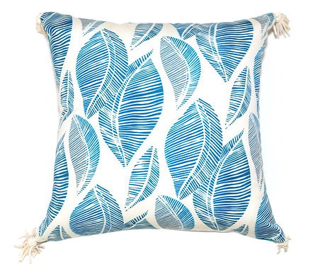 Blue Leaf Stamp Outdoor Pillow