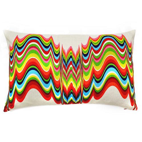 Frequency Print Linen Lumbar Pillow