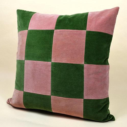 Medium Checkered Velvet Throw Pillow