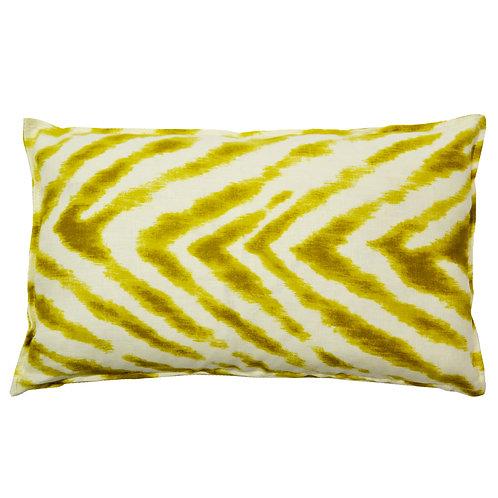 Chevron Print Linen Lumbar Pillow