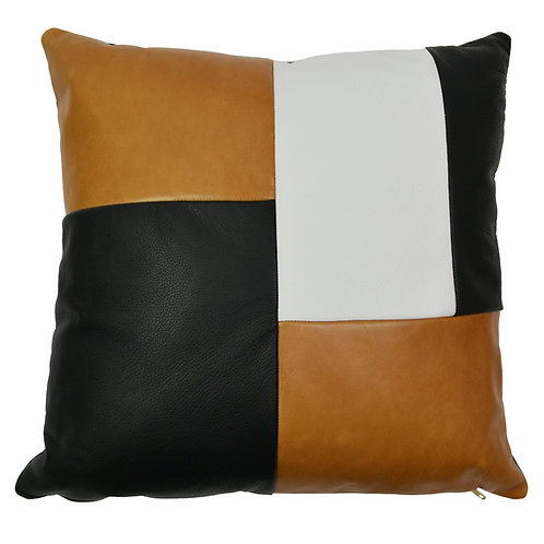 Collage Leather Throw Pillow